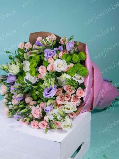 Букет роз в корзине цена киев, букет из белых синих роз