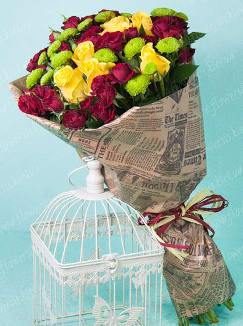 Buy a bouquet of flowers Kiev Ukraine, Yellow Roses, Flowers is